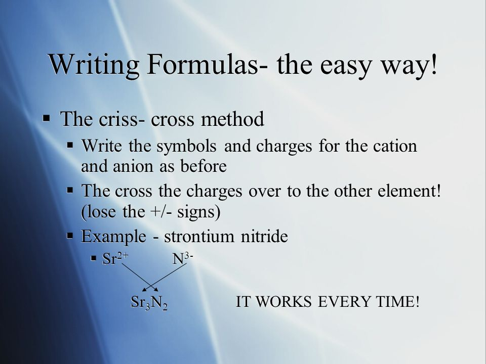 Writing Formulas- the easy way.