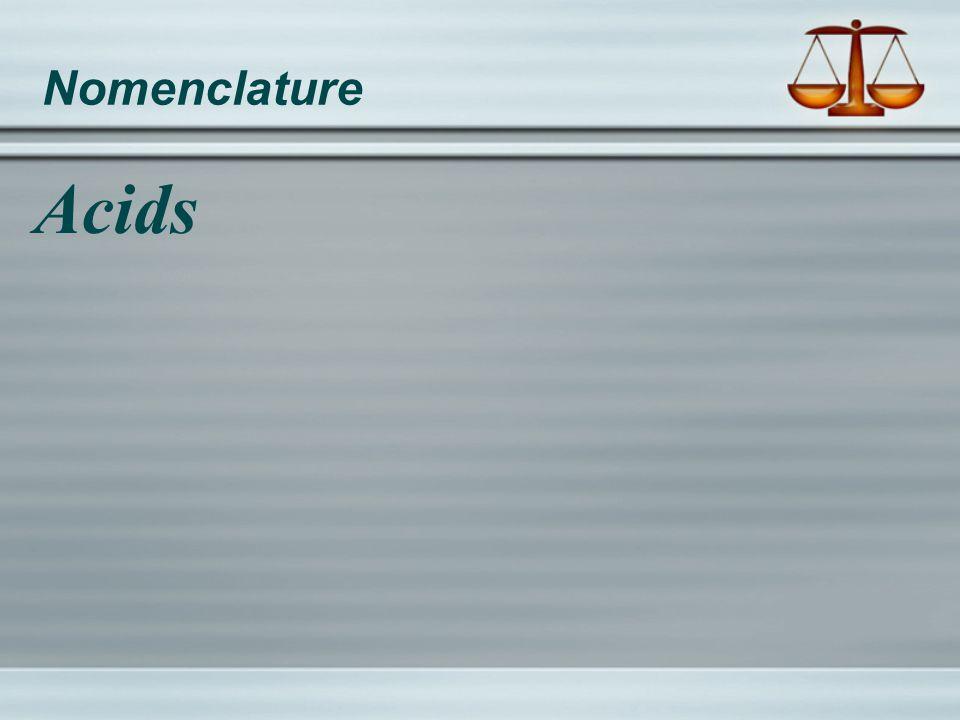Nomenclature Acids