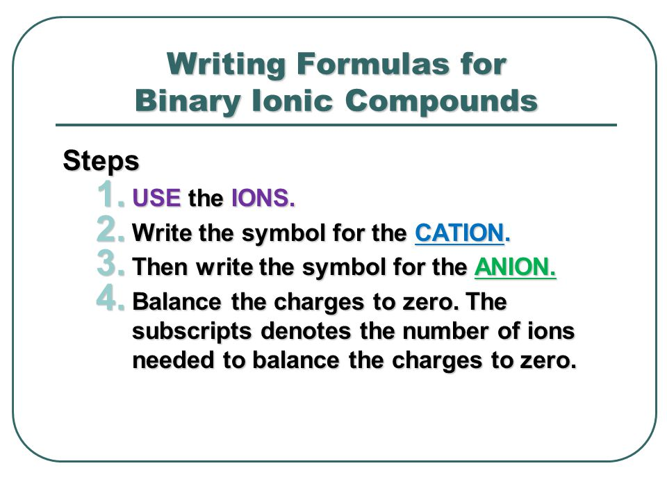 Writing Formulas for Binary Ionic Compounds Steps 1. USE the IONS. 2. Write the symbol for the CATION. 3. Then write the symbol for the ANION. 4. Bala