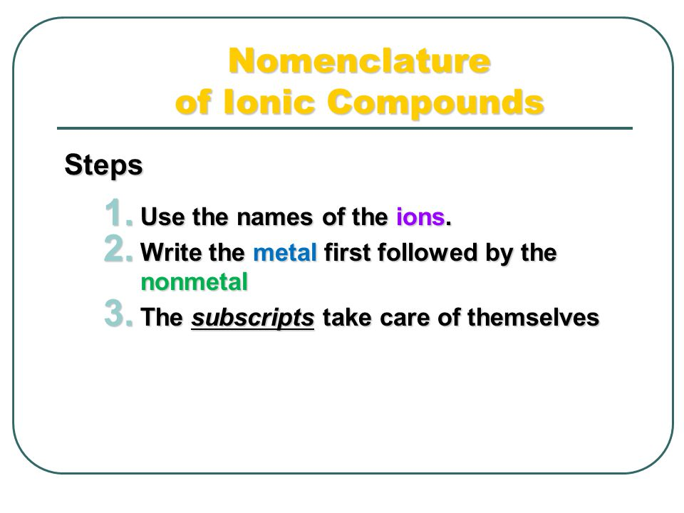 Nomenclature of Ionic Compounds Steps 1. Use the names of the ions.
