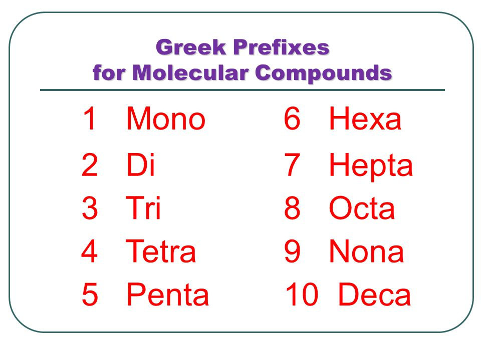 Greek Prefixes for Molecular Compounds 1 Mono6 Hexa 2 Di7 Hepta 3 Tri8 Octa 4 Tetra9 Nona 5 Penta10 Deca