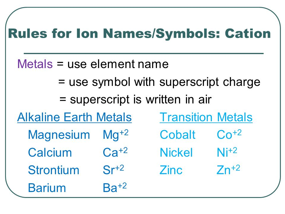 Rules for Ion Names/Symbols: Cation Metals = use element name = use symbol with superscript charge = superscript is written in air Alkaline Earth Meta