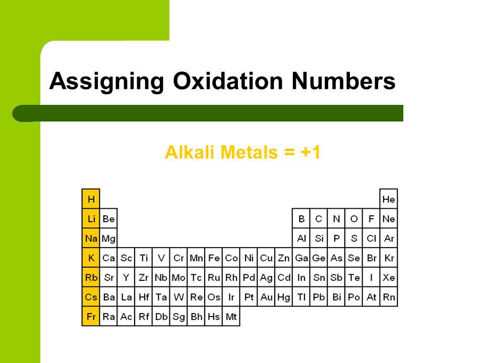 Alkali Metals = +1