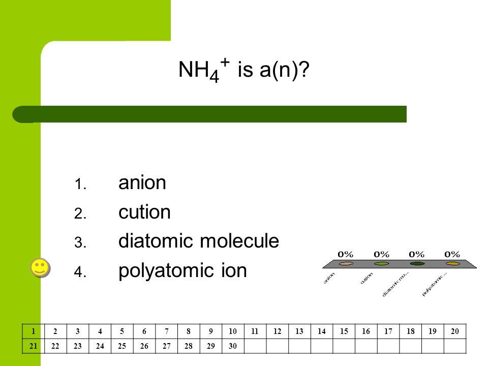NH 4 + is a(n). 1. anion 2. cution 3. diatomic molecule 4.