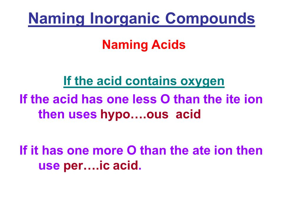Naming Inorganic Compounds Naming Acids If the acid contains oxygen If the acid has one less O than the ite ion then uses hypo….ous acid If it has one more O than the ate ion then use per….ic acid.