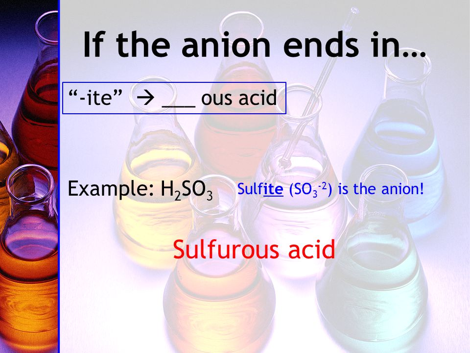 If the anion ends in… -ite  ___ ous acid Example: H 2 SO 3 Sulfurous acid Sulfite (SO 3 -2 ) is the anion!