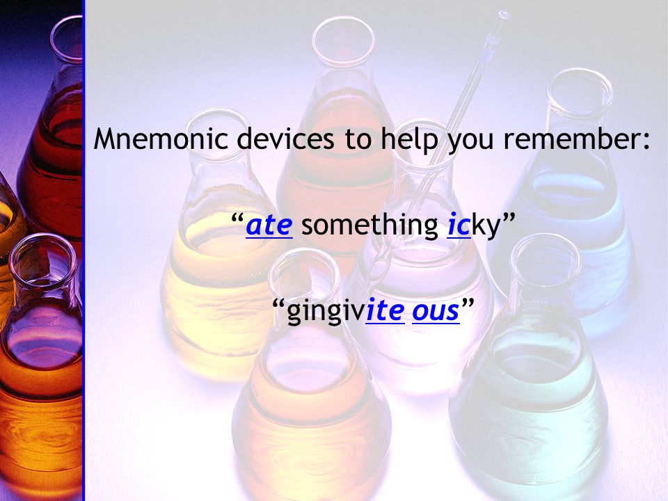 Mnemonic devices to help you remember: ate something icky gingivite ous