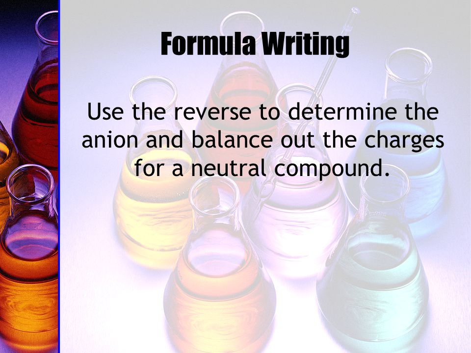 Formula Writing Use the reverse to determine the anion and balance out the charges for a neutral compound.