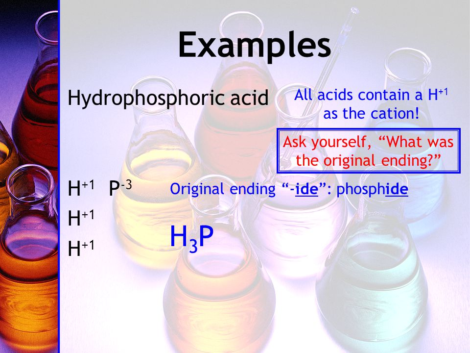 Examples Hydrophosphoric acid H +1 P -3 H +1 All acids contain a H +1 as the cation.