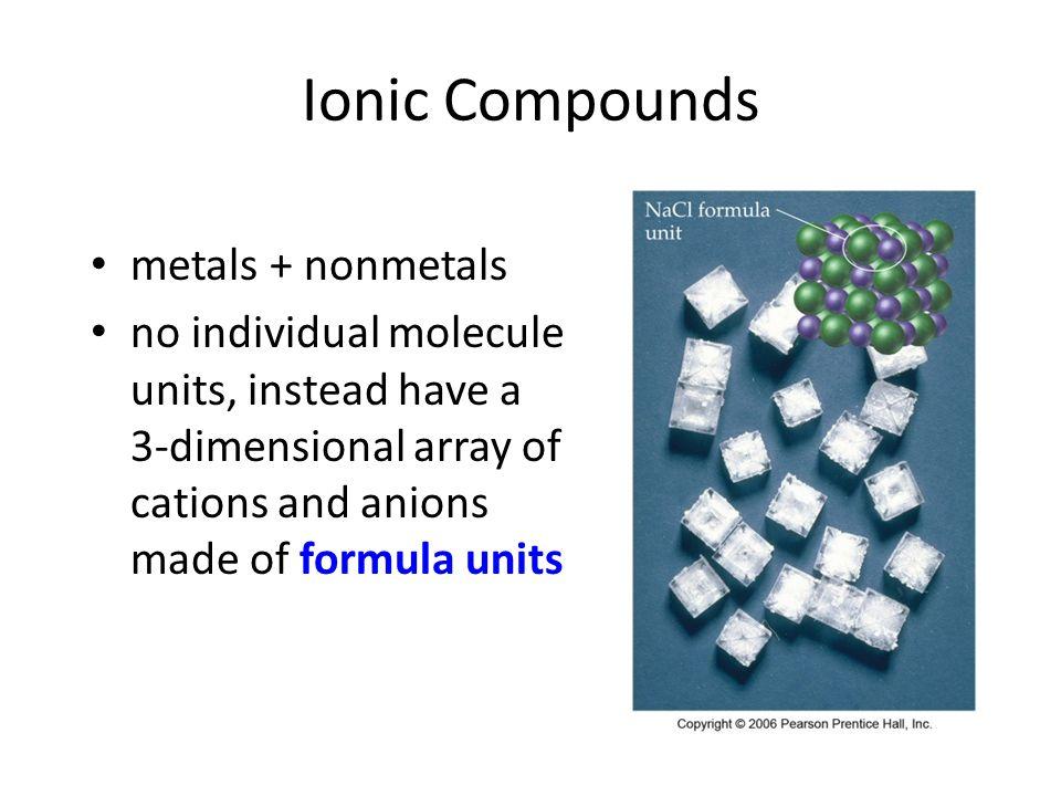 Molecular Compounds two or more nonmetals smallest unit is a molecule