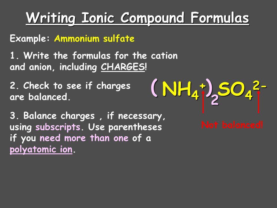 Common Polyatomic Ions (VIP) IonNameIonName NH 4 + AmmoniumO 2 -2 Peroxide NO 2 - NitriteCrO 4 -2 Chromate NO 3 - NitrateCr 2 O 7 -2 Dichromate SO 3 -2 SulfiteMnO 4 - Permanganate SO 4 -2 SulfateC2H3O2-C2H3O2- Acetate HSO 4 - Hydrogen SulfateClO 4 - Perchlorate OH - HydroxideClO 3 - Chlorate CN - CyanideClO 2 - Chlorite PO 4 -3 PhosphateClO - Hypochlorite HPO 4 - Hydrogen PhosphateHCO 3 - Hydrogen Carbonate H 2 PO 4 - Dihydrogen PhosphateCO 3 -2 Carbonate