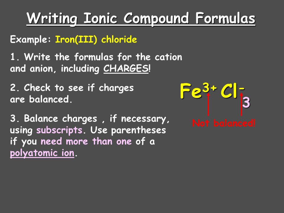 Writing Ionic Compound Formulas Example: Ammonium sulfate 1. Write the formulas for the cation and anion, including CHARGES! NH 4 + SO 4 2- 2. Check t
