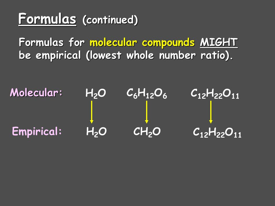 Formulas (continued) Formulas for ionic compounds are ALWAYS empirical (lowest whole number ratio). Examples: NaClMgCl 2 Al 2 (SO 4 ) 3 K 2 CO 3