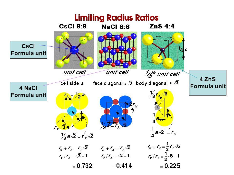 CsCl Formula unit 4 NaCl Formula unit 4 ZnS Formula unit