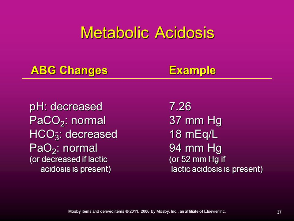 37 Mosby items and derived items © 2011, 2006 by Mosby, Inc., an affiliate of Elsevier Inc. Metabolic Acidosis pH: decreased7.26 PaCO 2 : normal37 mm