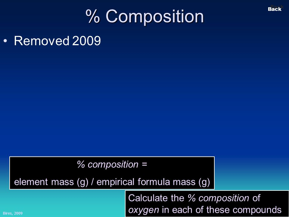 Bires, 2009 Slide 12 Back % Composition Removed 2009 % composition = element mass (g) / empirical formula mass (g) Calculate the % composition of oxygen in each of these compounds