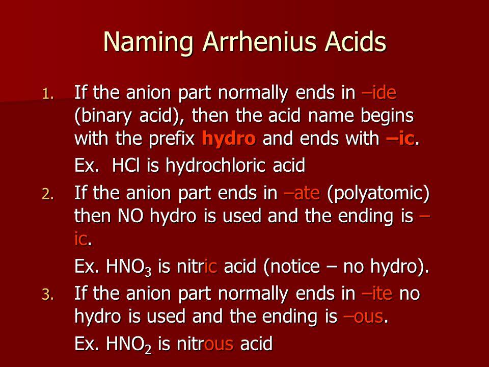 Naming Arrhenius Acids 4.