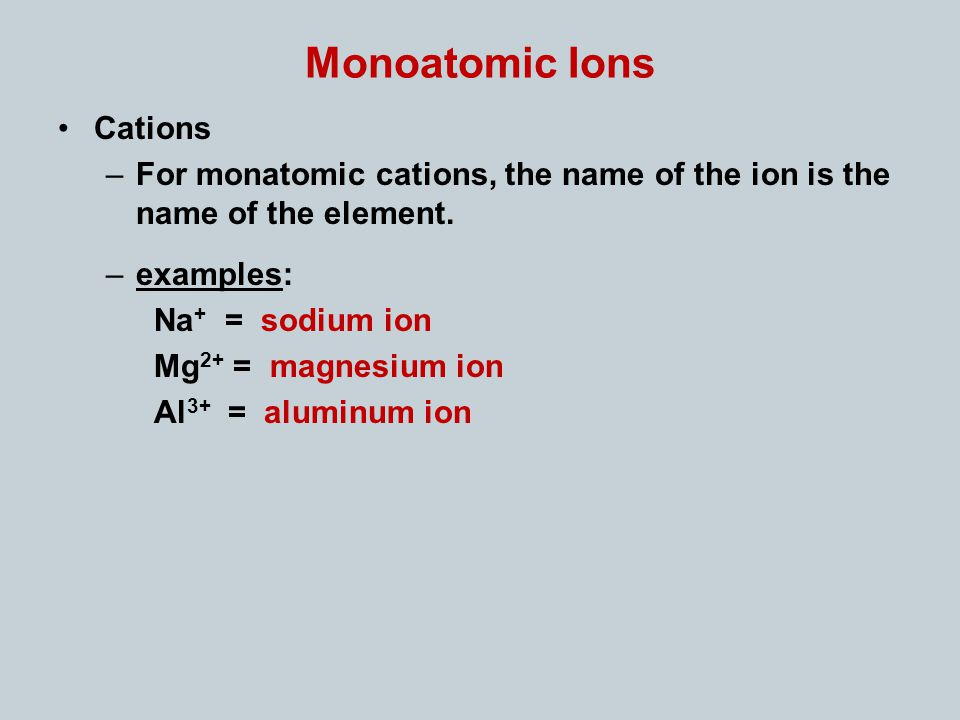 Monoatomic Ions Cations –For monatomic cations, the name of the ion is the name of the element.