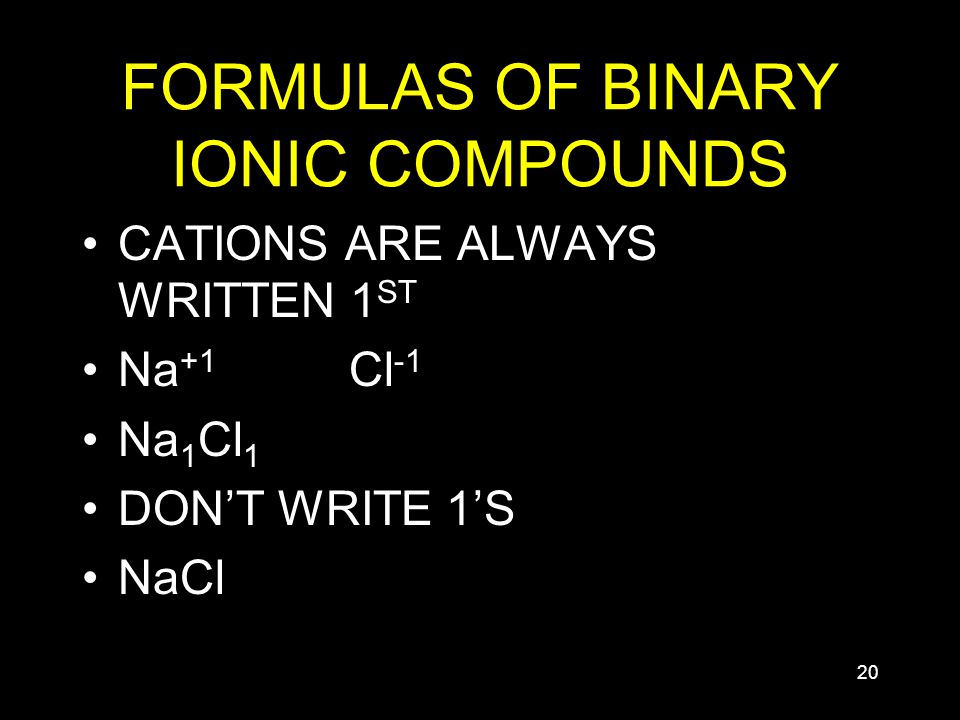 20 FORMULAS OF BINARY IONIC COMPOUNDS CATIONS ARE ALWAYS WRITTEN 1 ST Na +1 Cl -1 Na 1 Cl 1 DON'T WRITE 1'S NaCl