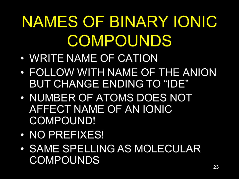 23 NAMES OF BINARY IONIC COMPOUNDS WRITE NAME OF CATION FOLLOW WITH NAME OF THE ANION BUT CHANGE ENDING TO IDE NUMBER OF ATOMS DOES NOT AFFECT NAME OF AN IONIC COMPOUND.