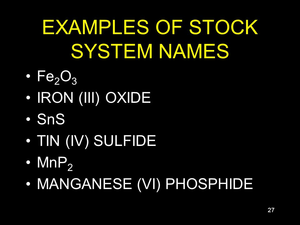 27 EXAMPLES OF STOCK SYSTEM NAMES Fe 2 O 3 IRON (III) OXIDE SnS TIN (IV) SULFIDE MnP 2 MANGANESE (VI) PHOSPHIDE