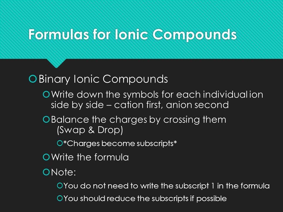 Examples Compound Name IonsFormula Sodium chloride Na + & Cl - NaCl Aluminum oxide Al 3+ & O 2- Al 2 O 3 iron (III) oxide Fe 3+ & O 2- Fe 2 O 3 iron (II) oxide Fe 2+ & O 2- Fe 2 O 2  FeO