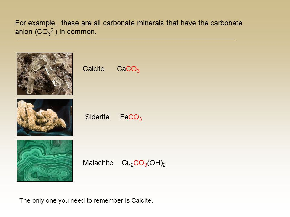 For example, these are all carbonate minerals that have the carbonate anion (CO 3 2- ) in common. Calcite CaCO 3 Siderite FeCO 3 Malachite Cu 2 CO 3 (