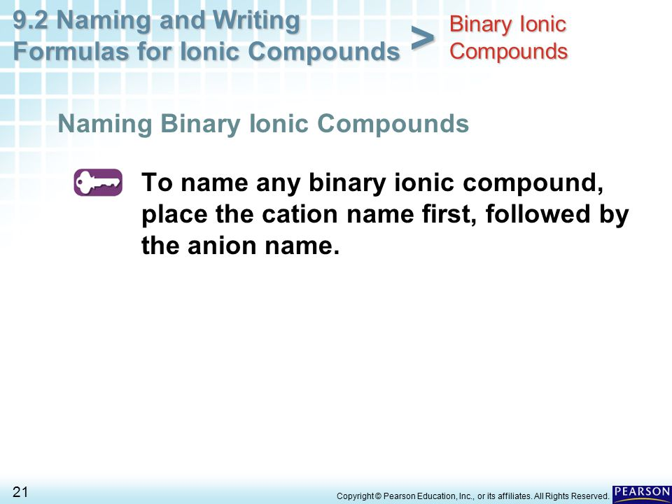 9.2 Naming and Writing Formulas for Ionic Compounds 21 > Copyright © Pearson Education, Inc., or its affiliates. All Rights Reserved. To name any bina