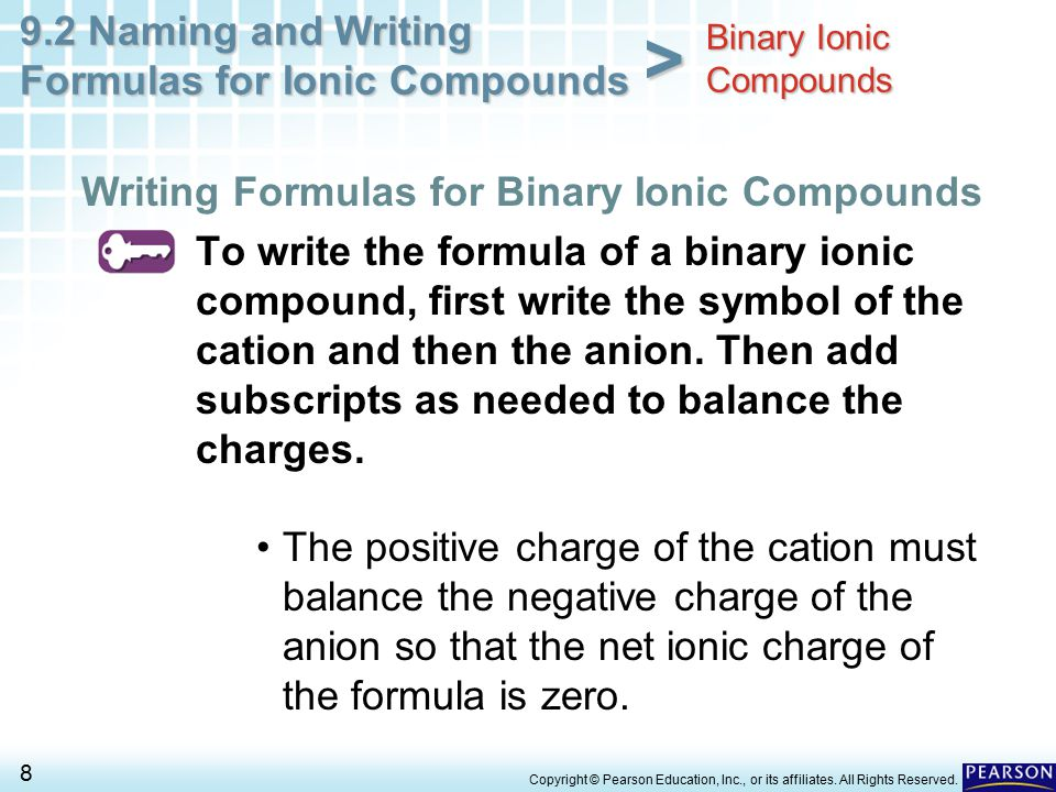 9.2 Naming and Writing Formulas for Ionic Compounds 8 > Copyright © Pearson Education, Inc., or its affiliates. All Rights Reserved. To write the form