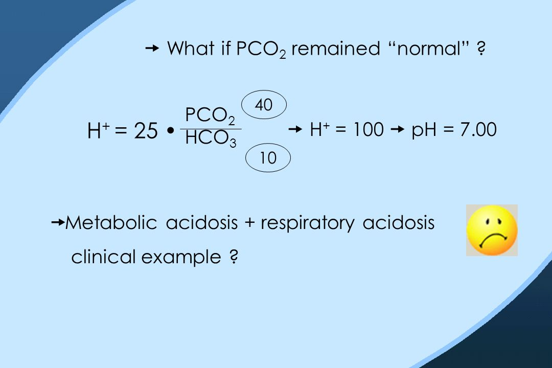 " What if PCO 2 remained ""normal"" ? H + = 25 PCO 2 HCO 3 10 40  H + = 100  pH = 7.00  Metabolic acidosis + respiratory acidosis clinical example ?"