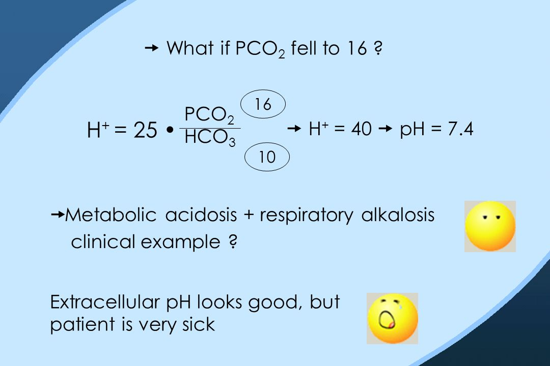  What if PCO 2 fell to 16 ? H + = 25 PCO 2 HCO 3 10 16  H + = 40  pH = 7.4  Metabolic acidosis + respiratory alkalosis clinical example ? Extracel