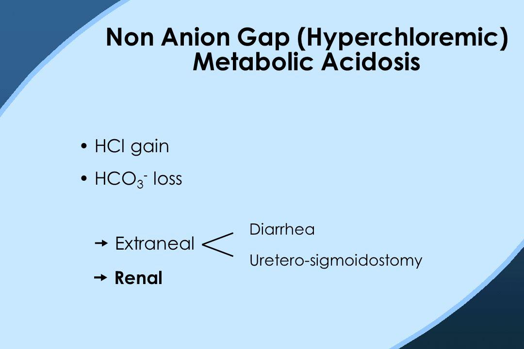 Non Anion Gap (Hyperchloremic) Metabolic Acidosis HCl gain HCO 3 - loss  Extraneal  Renal Diarrhea Uretero-sigmoidostomy