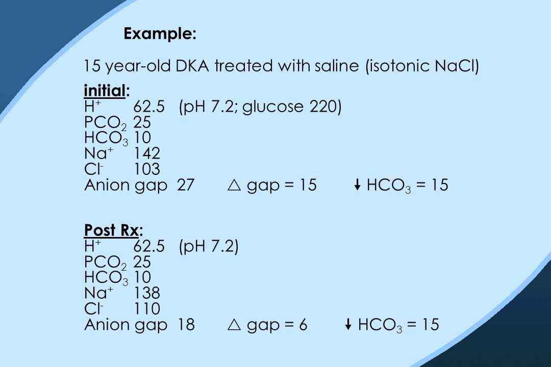 Example: 15 year-old DKA treated with saline (isotonic NaCl) initial: H + 62.5 (pH 7.2; glucose 220) PCO 2 25 HCO 3 10 Na + 142 Cl - 103 Anion gap 27