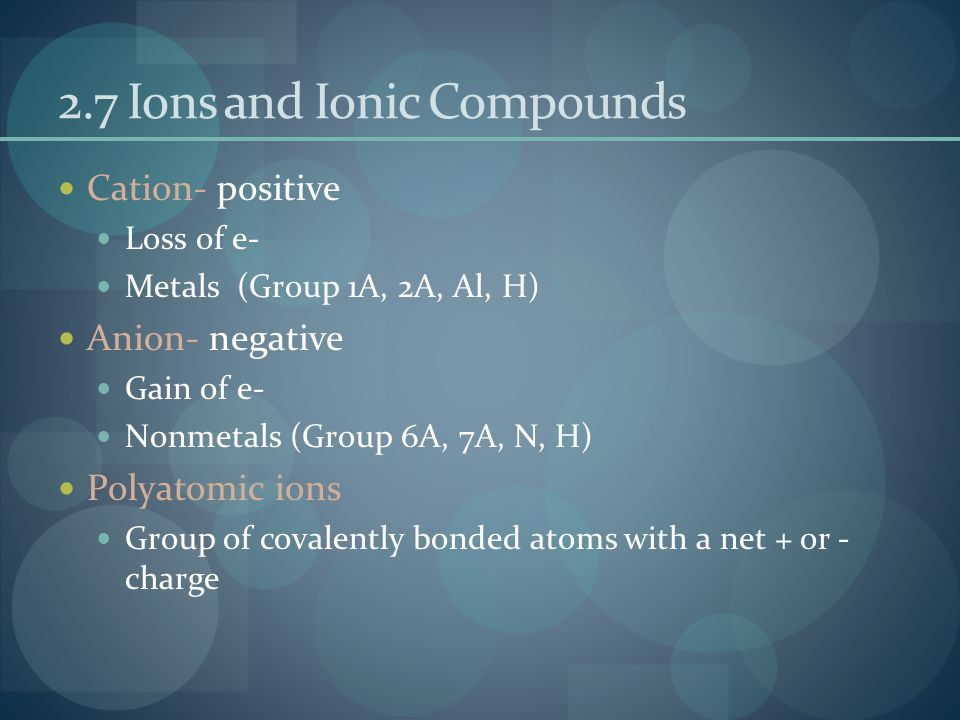 2.7 Ions and Ionic Compounds Cation- positive Loss of e- Metals (Group 1A, 2A, Al, H) Anion- negative Gain of e- Nonmetals (Group 6A, 7A, N, H) Polyatomic ions Group of covalently bonded atoms with a net + or - charge