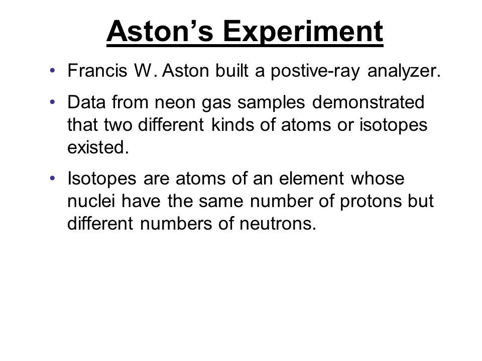 Aston's Experiment Francis W. Aston built a postive-ray analyzer.