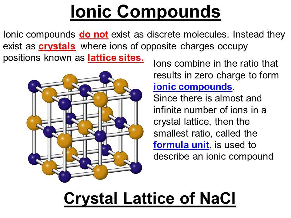 Ionic compounds do not exist as discrete molecules.