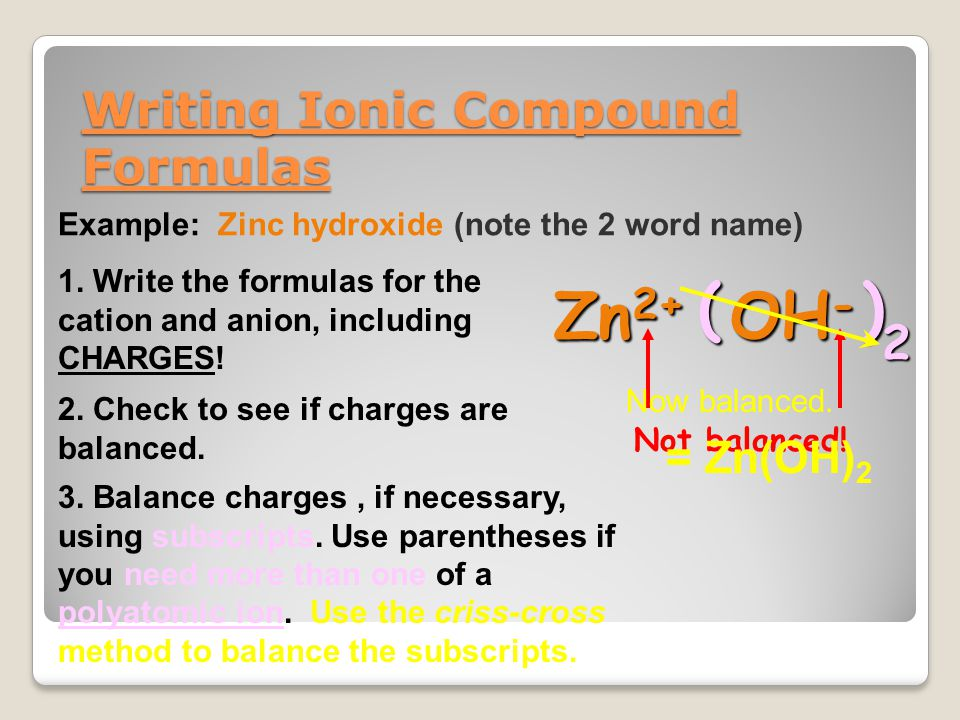 Writing Ionic Compound Formulas Example: Zinc hydroxide (note the 2 word name) 1. Write the formulas for the cation and anion, including CHARGES! Zn 2