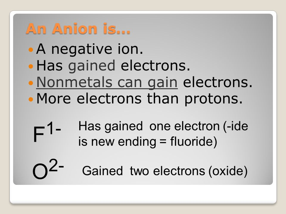 An Cation is… A positive ion.Has lost electrons. Metals can gain electrons.