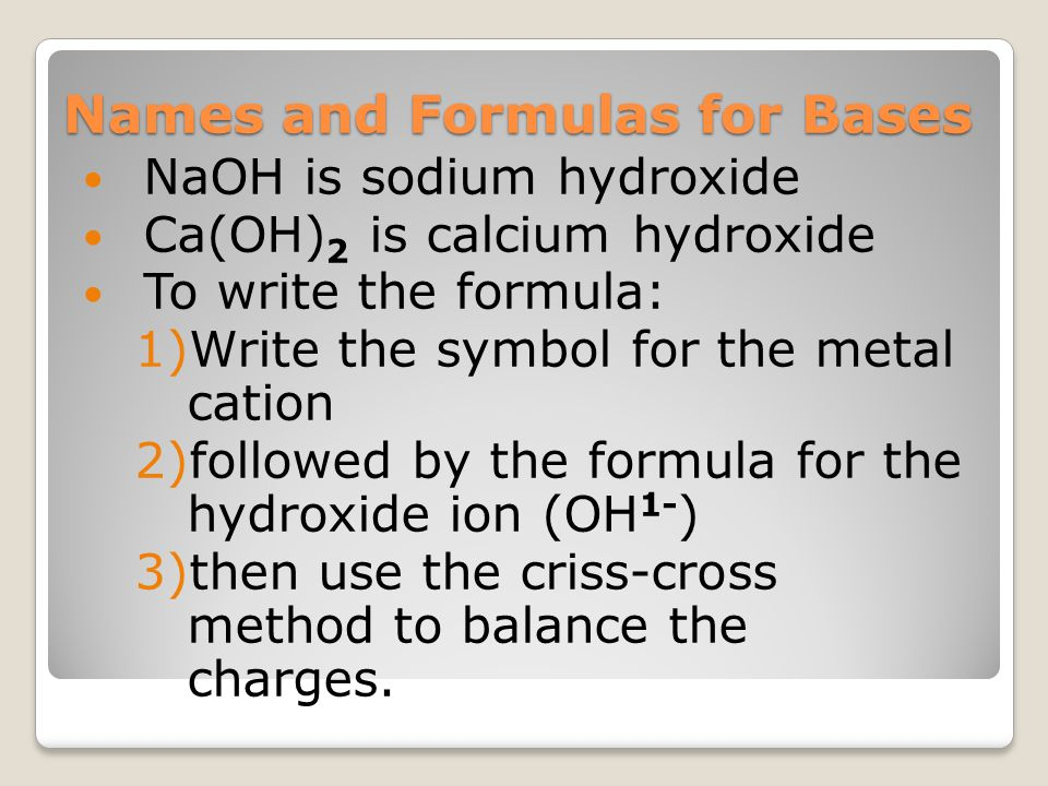 Names and Formulas for Bases NaOH is sodium hydroxide Ca(OH) 2 is calcium hydroxide To write the formula: 1)Write the symbol for the metal cation 2)fo