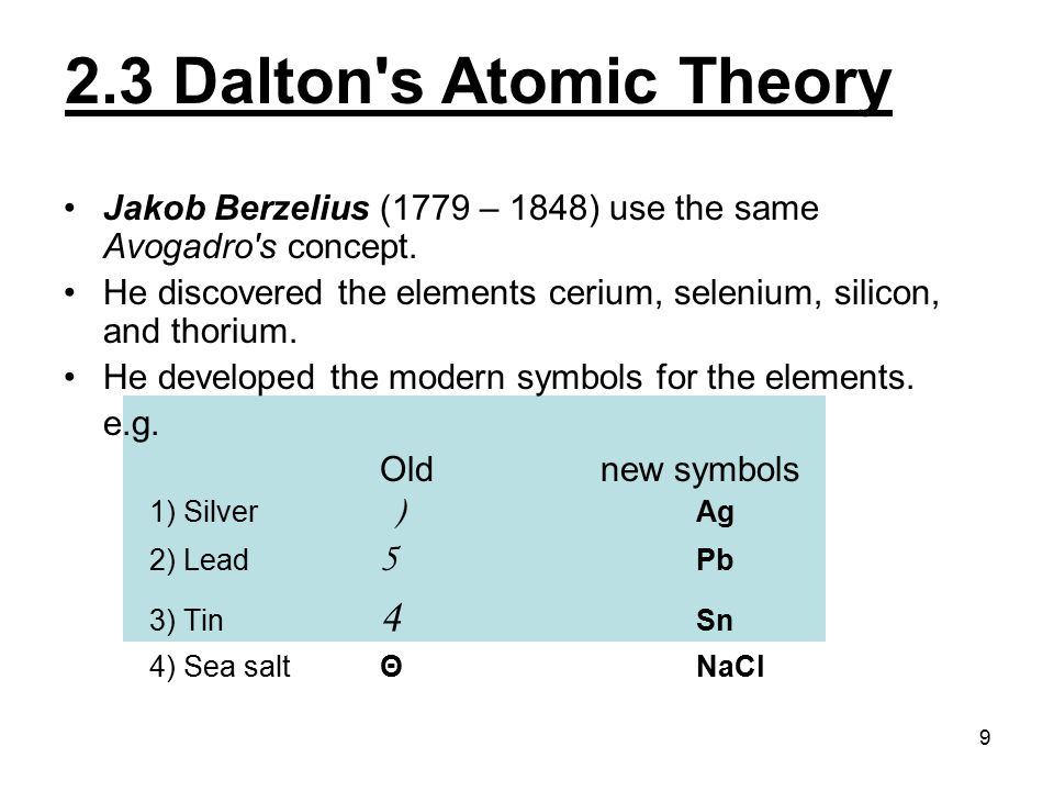 9 Jakob Berzelius (1779 – 1848) use the same Avogadro's concept. He discovered the elements cerium, selenium, silicon, and thorium. He developed the m