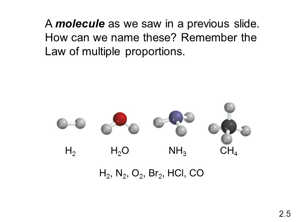 A molecule as we saw in a previous slide. How can we name these.
