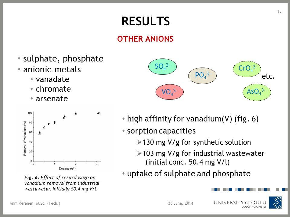 RESULTS OTHER ANIONS sulphate, phosphate anionic metals vanadate chromate arsenate 26 June, 2014 10 AsO 4 3- CrO 4 2- SO 4 2- PO 4 3- VO 4 3- Anni Keränen, M.Sc.