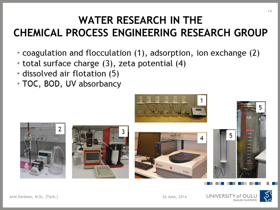 WATER RESEARCH IN THE CHEMICAL PROCESS ENGINEERING RESEARCH GROUP coagulation and flocculation (1), adsorption, ion exchange (2) total surface charge
