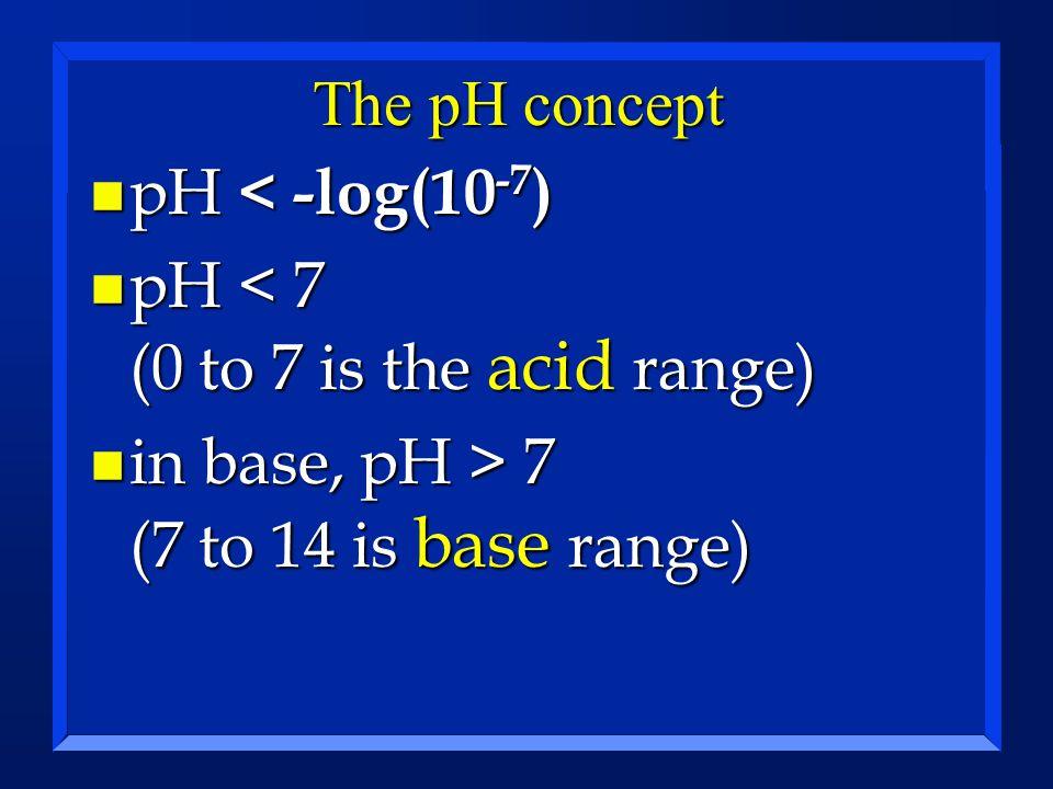 The pH concept n pH < -log(10 -7 ) n pH < 7 (0 to 7 is the acid range) n in base, pH > 7 (7 to 14 is base range)