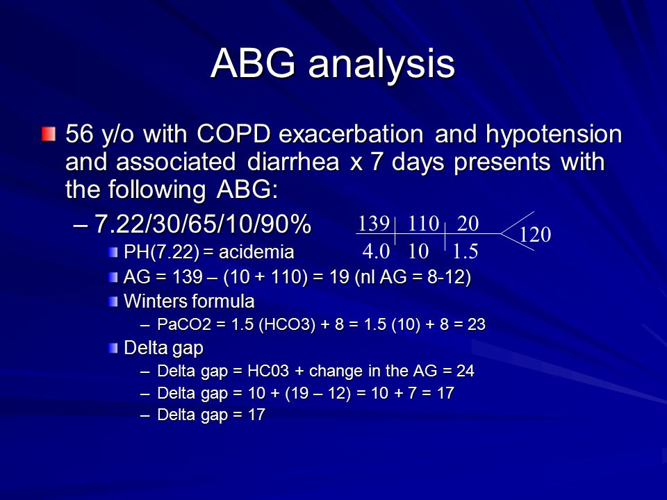 ABG analysis 56 y/o with COPD exacerbation and hypotension and associated diarrhea x 7 days presents with the following ABG: –7.22/30/65/10/90% PH(7.22) = acidemia AG = 139 – (10 + 110) = 19 (nl AG = 8-12) Winters formula –PaCO2 = 1.5 (HCO3) + 8 = 1.5 (10) + 8 = 23 Delta gap –Delta gap = HC03 + change in the AG = 24 –Delta gap = 10 + (19 – 12) = 10 + 7 = 17 –Delta gap = 17 139 4.0 110 10 20 1.5 120