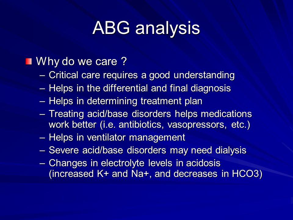 ABG analysis Why do we care .
