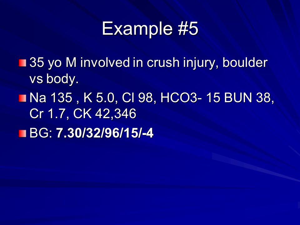 Example #5 35 yo M involved in crush injury, boulder vs body. Na 135, K 5.0, Cl 98, HCO3- 15 BUN 38, Cr 1.7, CK 42,346 BG: 7.30/32/96/15/-4