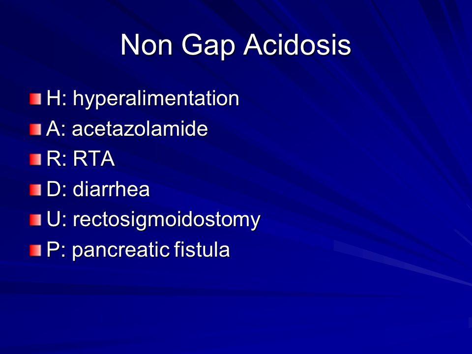 Non Gap Acidosis H: hyperalimentation A: acetazolamide R: RTA D: diarrhea U: rectosigmoidostomy P: pancreatic fistula