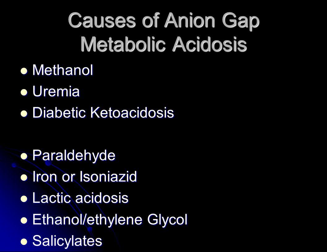 Causes of Anion Gap Metabolic Acidosis Methanol Methanol Uremia Uremia Diabetic Ketoacidosis Diabetic Ketoacidosis Paraldehyde Paraldehyde Iron or Isoniazid Iron or Isoniazid Lactic acidosis Lactic acidosis Ethanol/ethylene Glycol Ethanol/ethylene Glycol Salicylates Salicylates