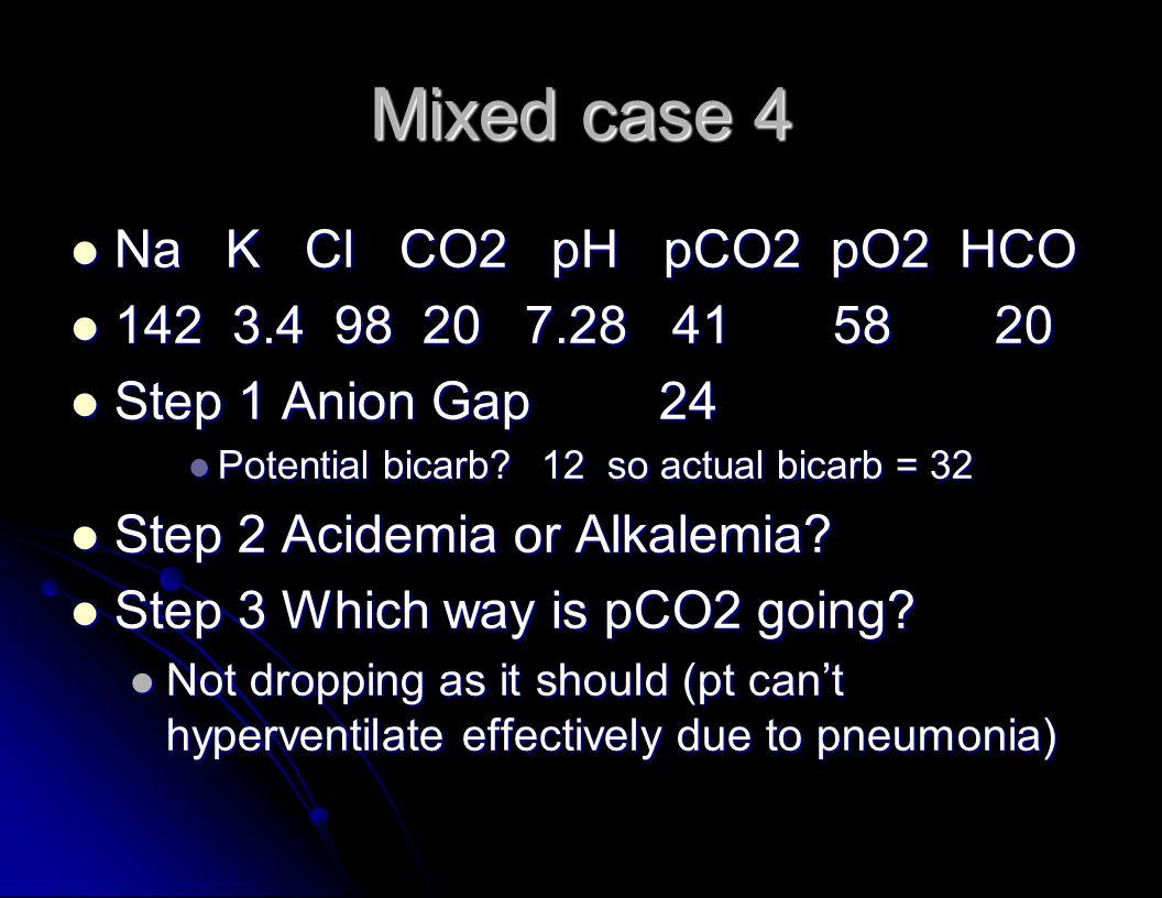 Mixed case 4 Na K Cl CO2 pH pCO2 pO2 HCO Na K Cl CO2 pH pCO2 pO2 HCO 142 3.4 98 20 7.28 41 58 20 142 3.4 98 20 7.28 41 58 20 Step 1 Anion Gap24 Step 1 Anion Gap24 Potential bicarb 12 so actual bicarb = 32 Potential bicarb 12 so actual bicarb = 32 Step 2 Acidemia or Alkalemia.